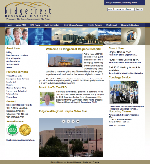 A Screenshot of the Ridgecrest Regional Hospital Website